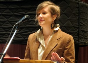 Rachel Halder speaking at Iowa Mennonite School