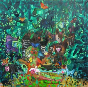 """The Dream of the Jungle of Eden"" by Elisabeth Slettnes, one of many beautiful paintings featured in The Girl God book"