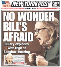 "Hillary Clinton has often experienced gender policing. This New York Post title implies that when a powerful woman raises her voice to make a point, she is out of control — ""exploding with rage."" For information about policing Clinton, click here."
